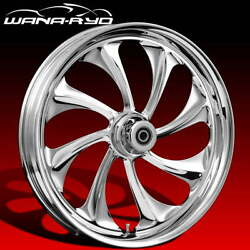 Ryd Wheels Twisted Chrome 23 Front Wheel Tire Package Dual Rotors 00-07 Bagger