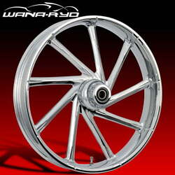 Kinetic Chrome 21 Fat Front And Rear Wheels, Tires Package 09-19 Bagger