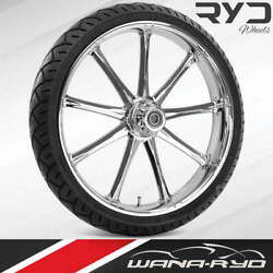 Ryd Wheels Ion Chrome 18 Fat Front Wheel Tire Package Dual Rotors 08-19 Bagger