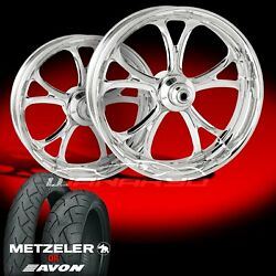 Performance Machine Luxe Chrome Wheels And Tires For 1990-2006 Softail Fat Boy Lo