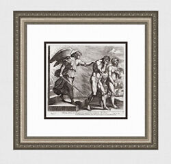 Intense 1649 Raphael Religious Engraving Fall Of Adam And Eve Framed Signed Coa
