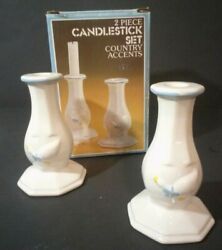 Nelson Mccoy Country Accents Ceramic Candle Sticks In Box Geese