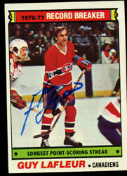 Guy Lafleur 216 Signed Autograph Auto 1977-78 Topps Hockey Trading Card