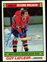 Guy Lafleur 214 Signed Autograph Auto 1977-78 Topps Hockey Trading Card