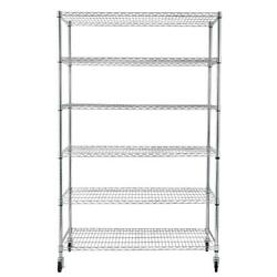 Wire Shelving Unit 6 Tier Heavy Duty Adjustable With Rolling Metal Storage Racks