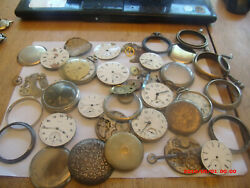 Collection Of Antique Pocket Watch Movements And Parts