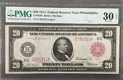 1914 20 Federal Reserve Note Red Seal Pmg Vf30 Epq Only 1 Higher Free Shipping