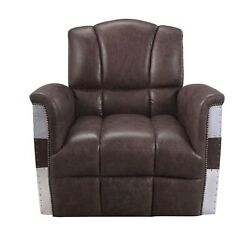 Accent Chair Retro Brown Top Grain Leather And Aluminum