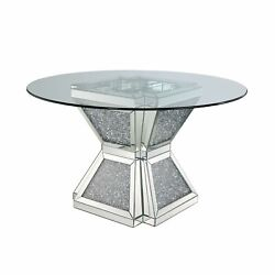 Dining Table, Clear Glass, Mirrored And Faux Diamonds