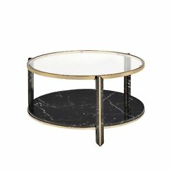 Coffee Table, Clear Glass, Faux Black Marble And Champagne Finish