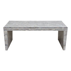 Mosaic Cocktail Table W/ Bone Linlay In Linear Pattern By Diamond Sofa