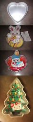 Wilton Cake Pan Lot Of Four Pans Heart, Bunny, Clown, And Christmas Tree