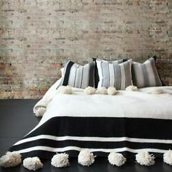Wool Blanket Ivory black Bohemian Bed Cover Hand knotted