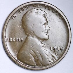 1914-d Lincoln Wheat Cent Penny Choice Vg Free Shipping E182 Kccm