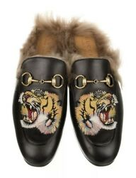 Menand039s Princetown Fur Tiger Embroidered Black Leather Loafers Worn Once