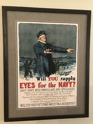 1917 Will You Supply Eyes For The Navy Poster Gordon Grant Wwi Original