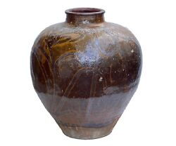 Lg Old Asian Earthenware Pottery Storage Jar 20 H By 16 Diameter