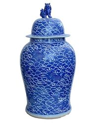Large Chinoiserie Blue And White Porcelain Ginger Jar 38 H