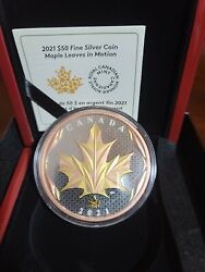 Maple Leaf In Motion 2021 Silver Coin With Yellow And Rose Gold Plating 5 Oz.