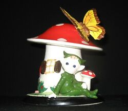 Vintage Lefton Mushroom Bank With Pixie Gnome Character