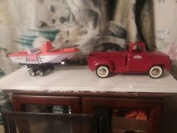 1950s Tonka Trucks Vintage With Later Model Plastic Boat And Trailer.