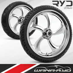 Rollin Chrome 23 Fat Front And Rear Wheels Tires Package Dual Rotors 2008 Bagger