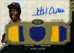 2018 Hank Aaron Topps Tier One Auto Autograph Triple Patch 1/1 Brewers