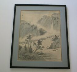 Vintage Chinese Or Japanese Painting Landscape Scholar Art Waterfall River View