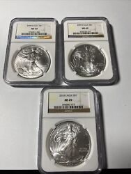 2008/2009/2010 American Silver Eagle Ngc Ms 69 Brown Label 3 Total