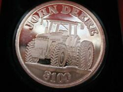 1-oz.john Deere Model 8100 Tractor Gift Or Collect.999 Proof Silver Coin+gold