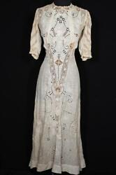 Rare Antique French Edwardian Silk Embroidered Cotton And Irish Lace Dress Size 2