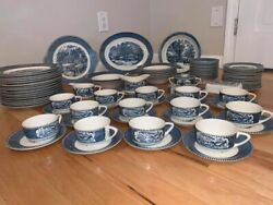 Vintage Currier And Ives Royal China Set Of 74 Pieces