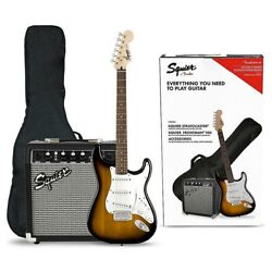 Squier Stratocaster Electric Guitar Pack With Fender Frontman Amp Brown Sunburst