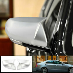 For Cadillac Ats 2013-2019 Horns Silver Exterior Rear View Mirror Cover Trim 2pc