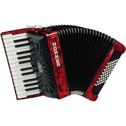 Hohner Bravo Ii 48 Accordion With Black Bellows Red