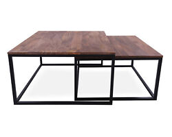Solid Wood 2 Piece Coffee Table And Nesting Tables Set