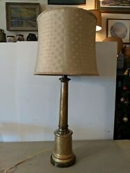 Vintage Paul Hanson Hollywood Regency Gold Crackle Glass Table Lamp W/ Shade