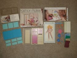 Vintage Tomy Flip And Fold Fashion Plates W/ Accessories And Fashion Plates
