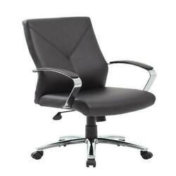 Boss Office Home Modern Executive Leather Desk Chair With Chrome Finish Multi