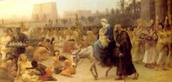 Perfect 48x24 Oil Painting Handpainted On Canvasflight Into Egypt@9405