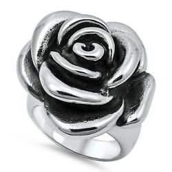 Nwt Women Stainless Steel Ring Size. 11 New Modern Silver Flower Rose