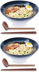 Dining Ramen Noodle Soup Bowl 2 Sets 6 Piece 60 Oz With Matching Spoon Chopsti