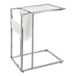 Ergode Accent Table - White / Chrome Metal With A Magazine Rack