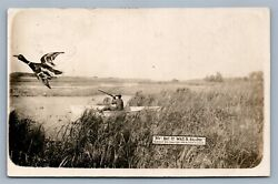 Exaggerated Duck Hunting 1909 Antique Real Photo Postcard Rppc By Oscar Erickson