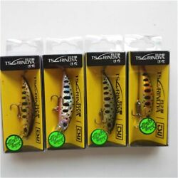 Fishing Lure 4pcs Artificial Sinking Minnow Laser Hard Trout Bass Wobbler Baits