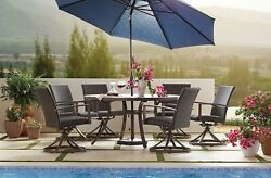 Outdoor Dining Furniture Set Table 6 Swivel Rocker Chairs All Weather Wicker
