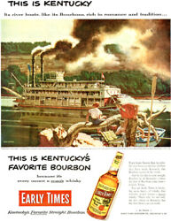 Dean Cornwell Kentucky River Boat Early Times Bourbon Whisky 1952 Magazine Ad