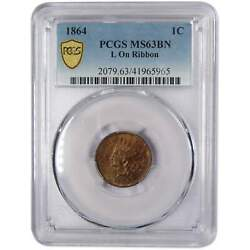 1864 L On Ribbon Indian Head Cent Ms 63 Bn Pcgs Bronze Penny 1c Us Coin