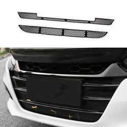 Fit For Honda Accord 2018-2021 Abs Black Front Bumper Anti-insect Net Grille 2pc