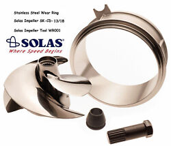 Solas Sea Doo Spark Impeller Sk-cd-13/18 W/ Stainless Wear Ring And Impeller Tool